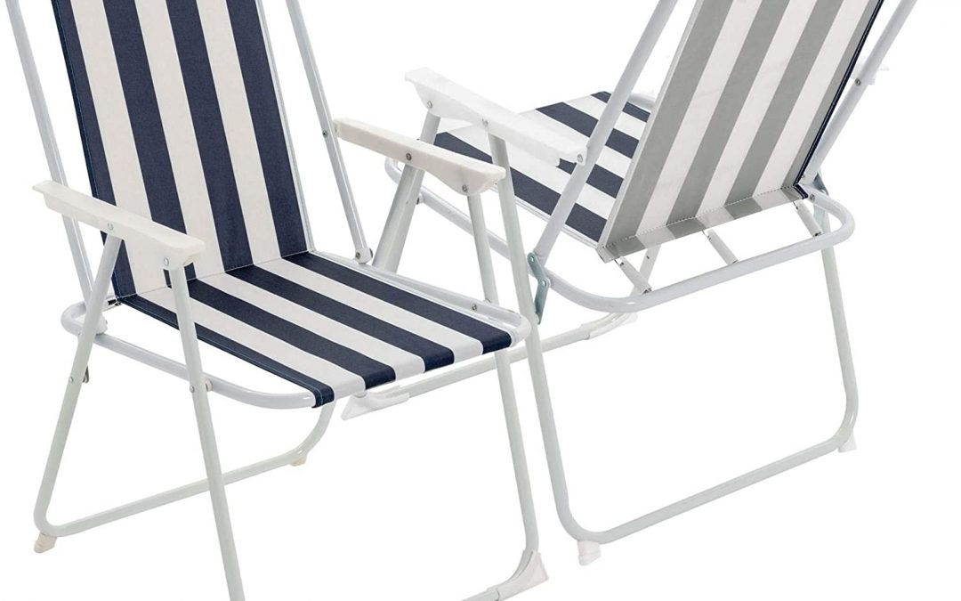 Harbour Housewares Folding Portable Beach/Camping Deck Chair – Blue Stripe – Pack of 2