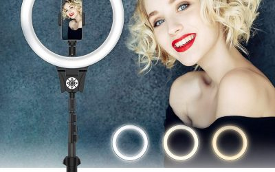 LED Ring Light with Tripod Stand, 12 inch Dimmable Selfie Ring Light, 10 Color Temperatures and 30 Brightness, Wall plug, Remote Control/Touch Control, Phone Holder for Live Streaming/Makeup/Camera